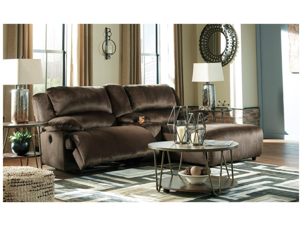 Signature Design by Ashley ClonmelPower Recl. Sectional w/ Chaise & Console