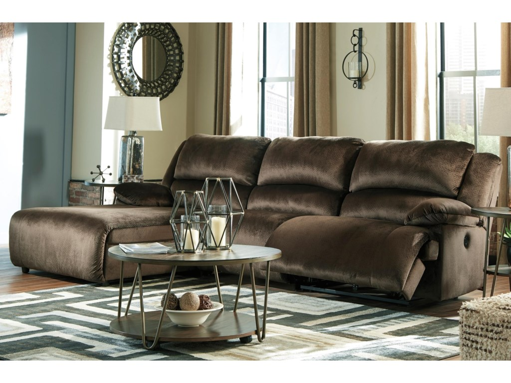 Clonmel Reclining Sectional With Pressback Chaise By Signature Design Ashley At Home Furnishings