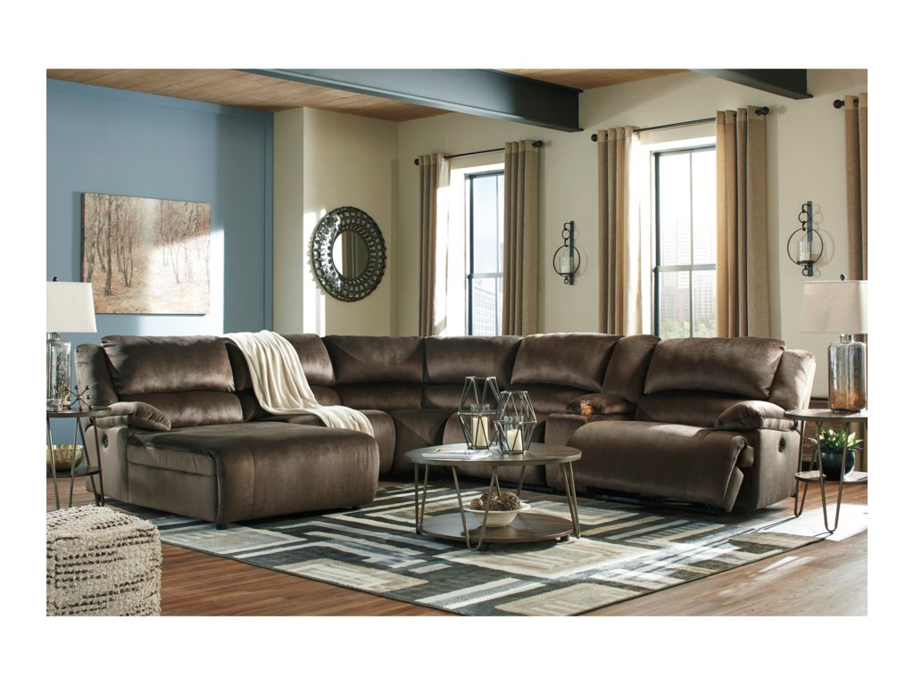 Signature Design by Ashley ClonmelReclining Sectional with Chaise & Console