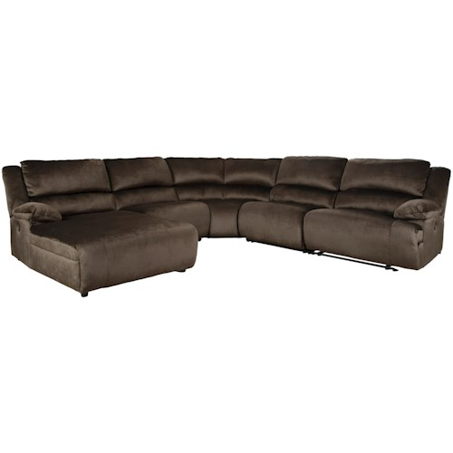 Signature Design by Ashley Clonmel Power Reclining Sectional with Pressback Chaise