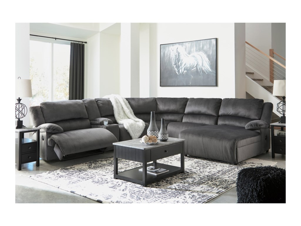 Trendz CullenRecl. Sectional with Chaise & Console