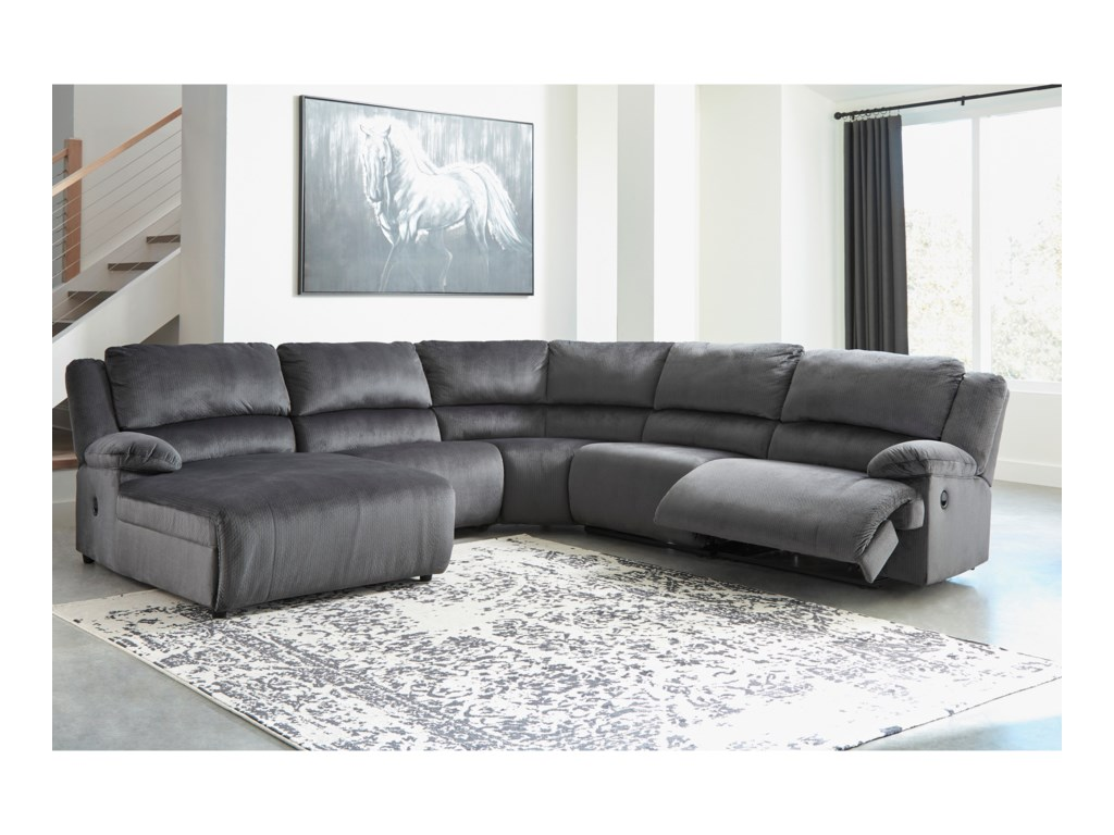 Ashley Signature Design ClonmelReclining Sectional with Pressback Chaise