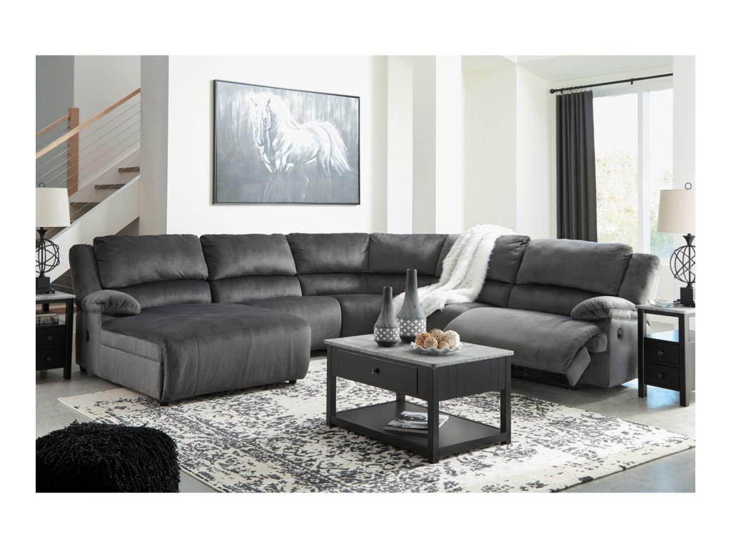 Rooms Collection Three ClonmelReclining Sectional with Pressback Chaise
