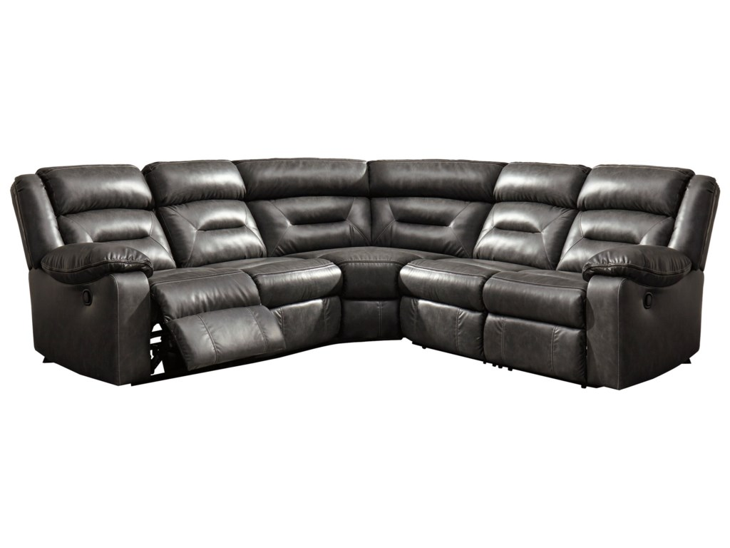 Coahoma Faux Leather Reclining Sectional by Signature Design by Ashley at  John V Schultz Furniture