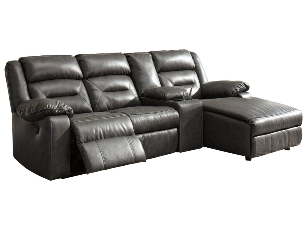 Coahoma 4-Piece Sectional with Chaise and Storage Console by Signature  Design by Ashley at Household Furniture
