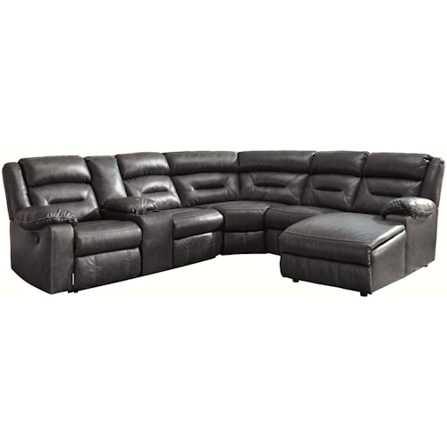 Signature Design by Ashley Coahoma Six Piece Sectional with Chaise and Storage Console
