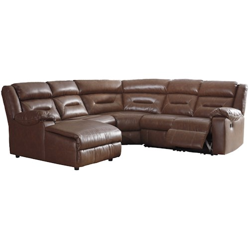 Signature Design by Ashley Coahoma Five Piece Sectional with Zero Wall Recliner