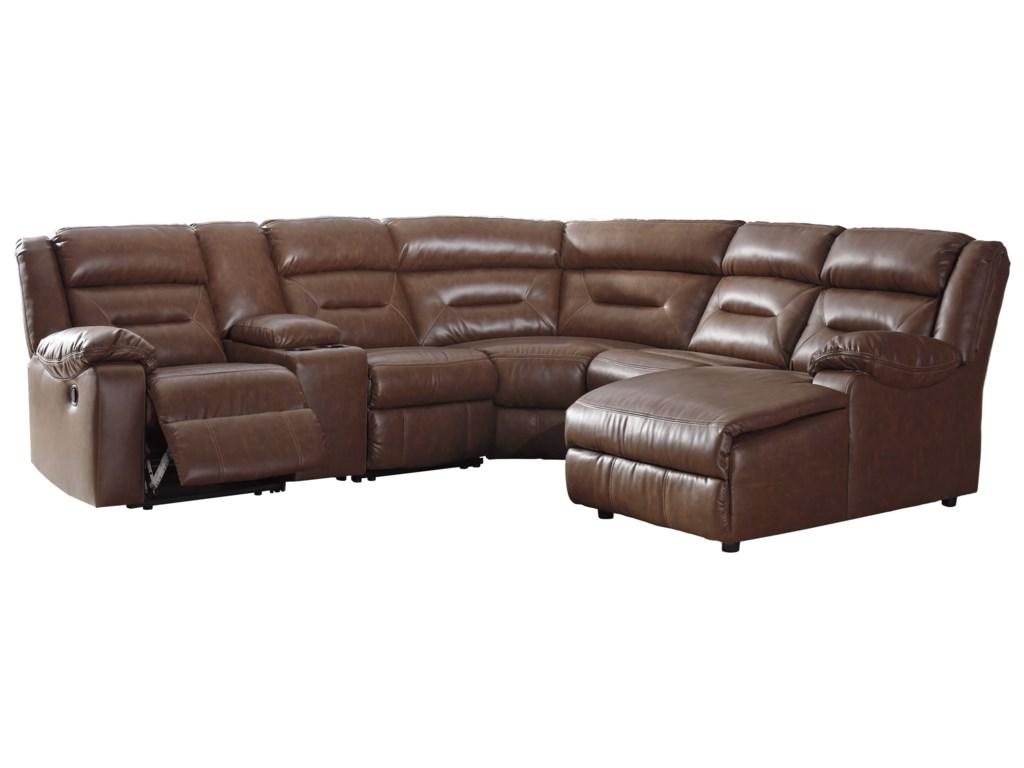 Coahoma 6-Piece Sectional with Chaise and Storage Console by Signature  Design by Ashley at Furniture and ApplianceMart