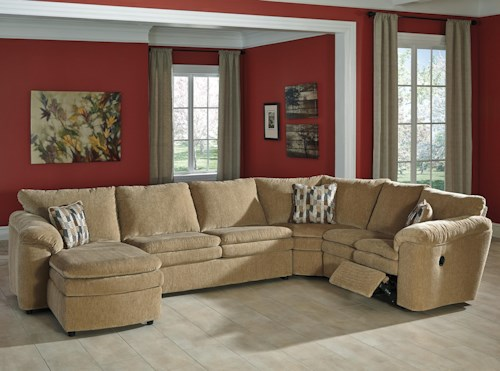 Signature Design by Ashley Coats Casual Contemporary 4-Piece Reclining Sectional with Left Chaise