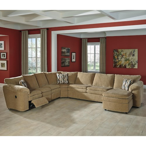 Signature Design by Ashley Coats Casual Contemporary 5-Piece Reclining Sectional with Right Chaise & Sleeper
