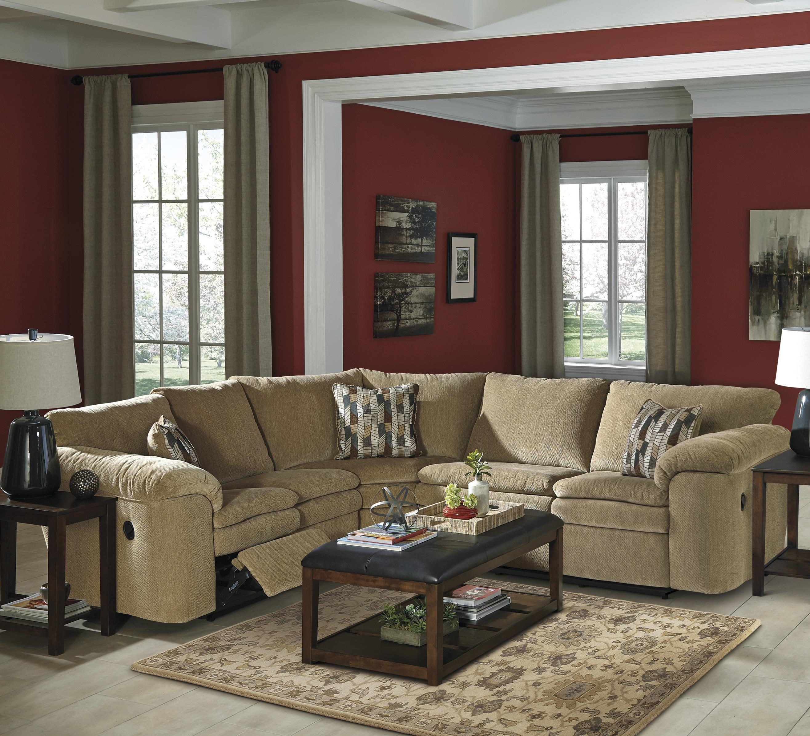 signature design by ashley coats casual 3piece reclining sectional with pillow arms
