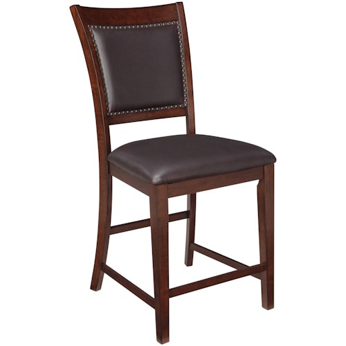 Signature Design by Ashley Collenburg Upholstered Barstool with Nailhead Trim