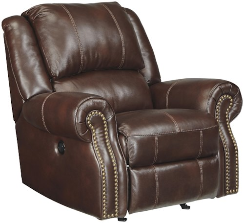 Signature Design by Ashley Collinsville Transitional Leather Match Rocker Recliner with Rolled Arms