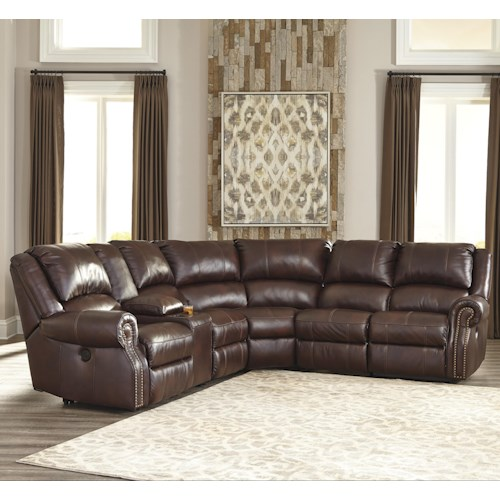 Signature Design by Ashley Collinsville 6-Piece Reclining Sectional with Console & 2 Armless Recliners