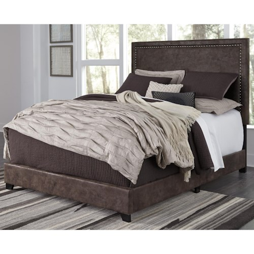 Signature Design By Ashley Dolante King Upholstered Faux Leather Bed With Goldtone Nailhead Trim Boulevard Home Furnishings Beds