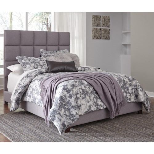 Signature Design by Ashley Dolante Queen Upholstered Bed in Gray Fabric