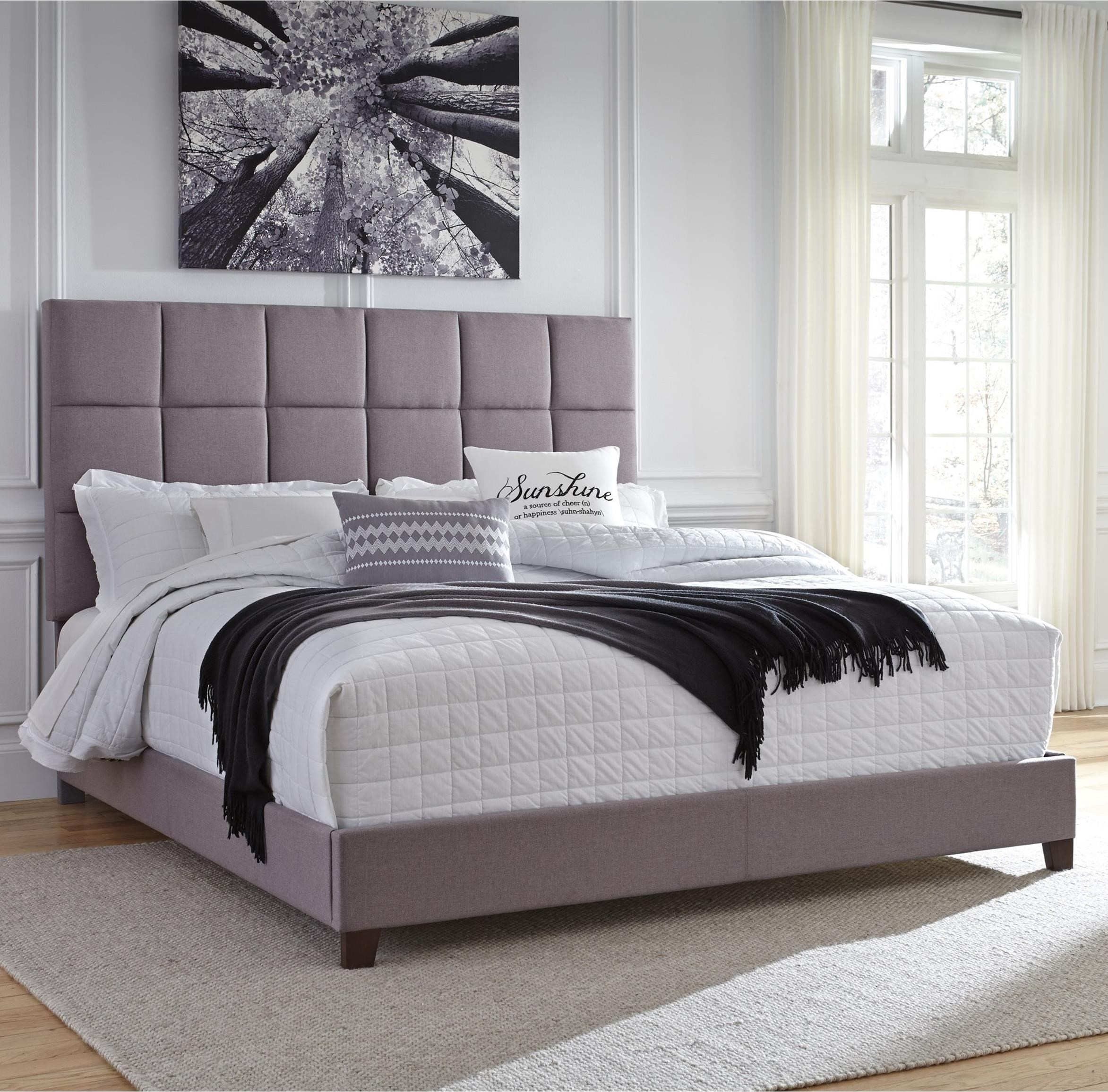 Signature Design By Ashley Dolante King Upholstered Bed In Gray Fabric Royal Furniture Upholstered Beds