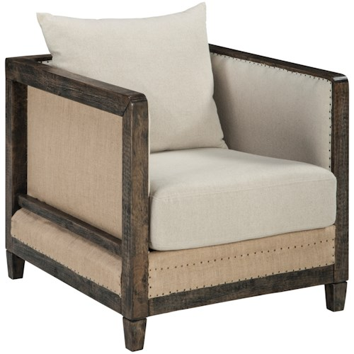Signature Design by Ashley Copeland Deconstructed Style Linen Fabric Accent Chair with Wood Frame