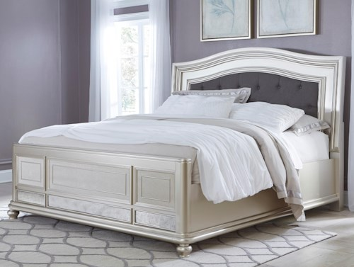 Signature Design by Ashley Coralayne California King Panel Bed with Arched Upholstered Headboard and Silver Finish Frame