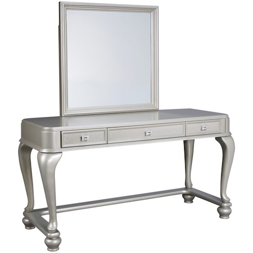 Signature Design by Ashley Coralayne Vanity & Mirror in Silver Paint Finish