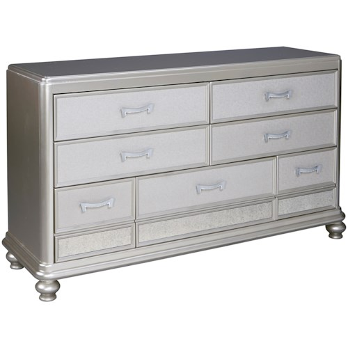 Signature Design by Ashley Coralayne Dresser in Silver Paint Finish
