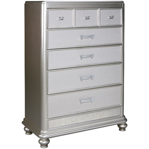 Signature Design by Ashley Coralayne Five Drawer Chest in Silver Paint Finish