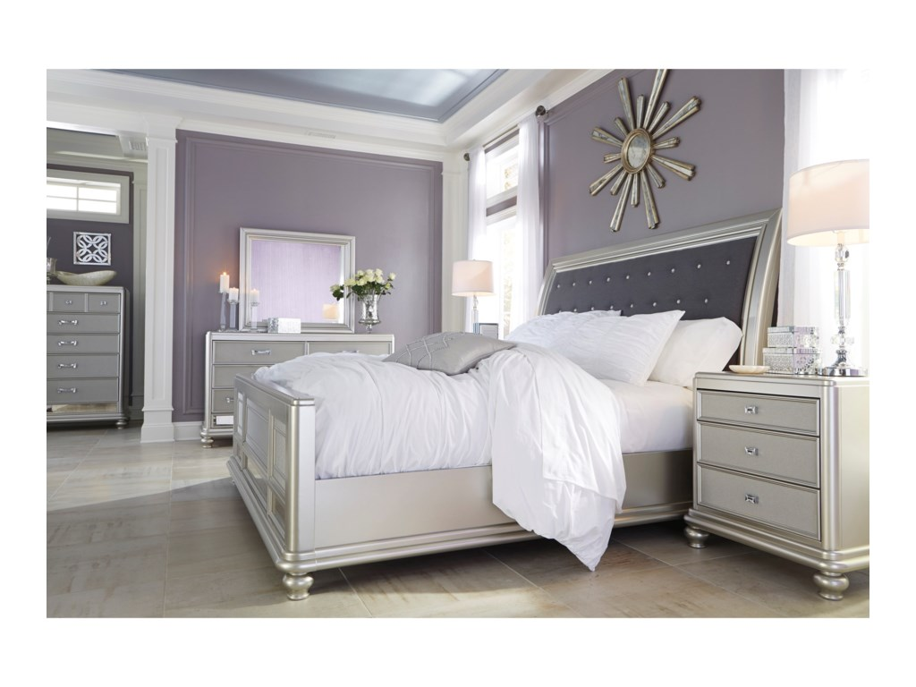 Signature Design by Ashley CoralayneCal King Bed w/ Upholstered Sleigh Headboard