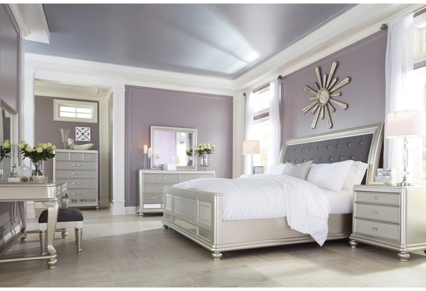 Ashley Signature Design Coralayne King Bed With Upholstered