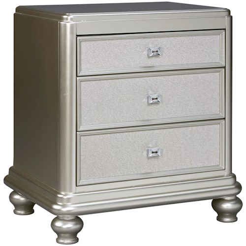 Signature Design by Ashley Coralayne Three Drawer Night Stand in Silver Paint Finish