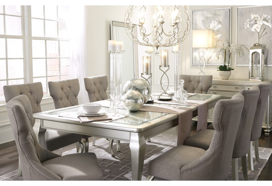 Signature Design By Ashley Coralayne 7 Piece Rectangular Dining Room Extension Table Set Pedigo Furniture Dining 7 Or More Piece Sets