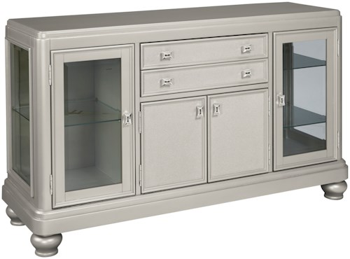 Signature Design by Ashley Coralayne Dining Room Server with Glass Doors & Silver Finish