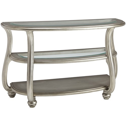 Signature Design by Ashley Coralayne Demilune Sofa Table in Silver Finish with Glass Top