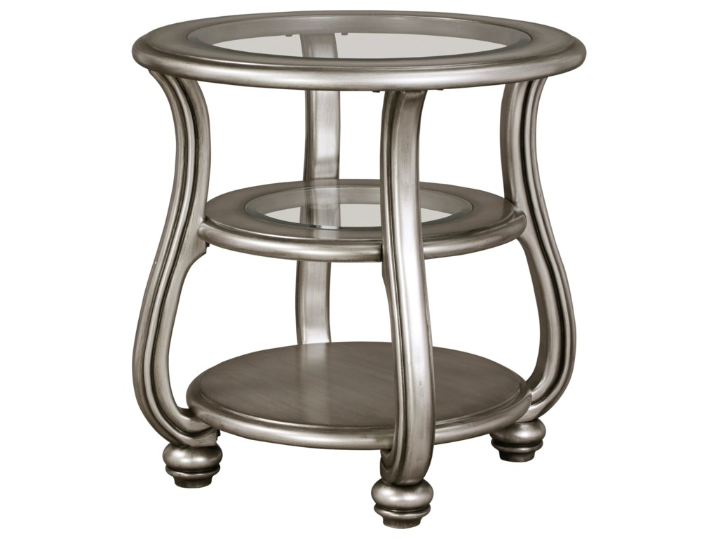 signature design by ashley coralayne round end table in silver finish withglass top  royal furniture  end tables. signature design by ashley coralayne round end table in silver