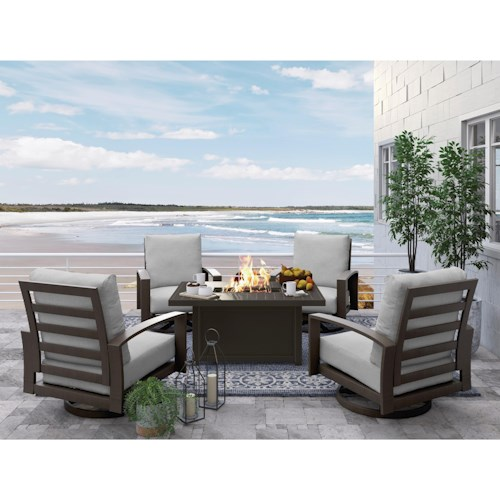 Signature Design by Ashley Cordova Reef Outdoor Conversation Set with Fire Pit Table