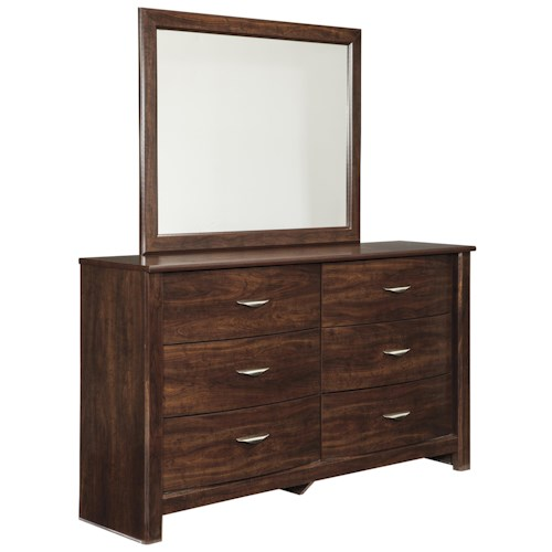 Signature Design by Ashley Corraya Dresser with Bow-Front Drawers & Bedroom Mirror