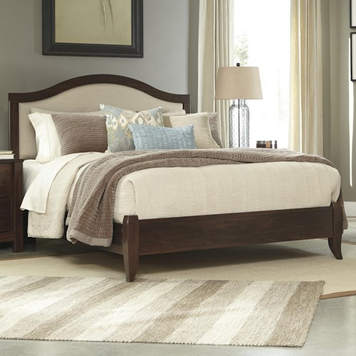 Signature Design by Ashley Corraya Queen Upholstered Bed with Cherry Finish Low-Profile Footboard