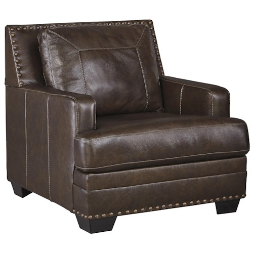 Signature Design by Ashley Corvan Leather Match Chair with Coil Seat Cushion