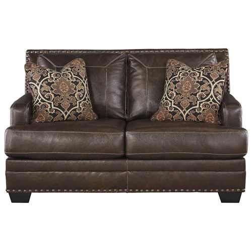 Signature Design by Ashley Corvan Leather Match Loveseat with Coil Seat Cushions