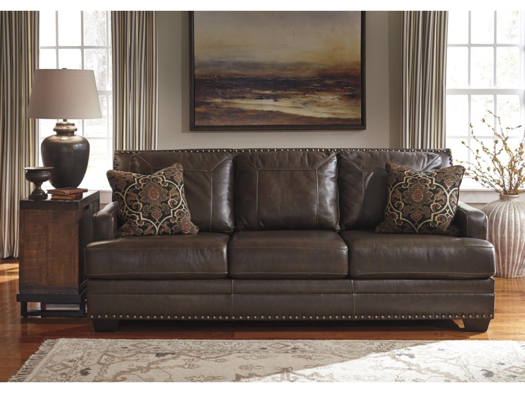Signature Design by Ashley Corvan Leather Match Sofa with Coil ...