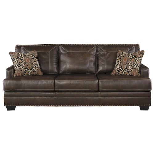Signature Design by Ashley Corvan Leather Match Queen Sofa Sleeper with Memory Foam Mattress
