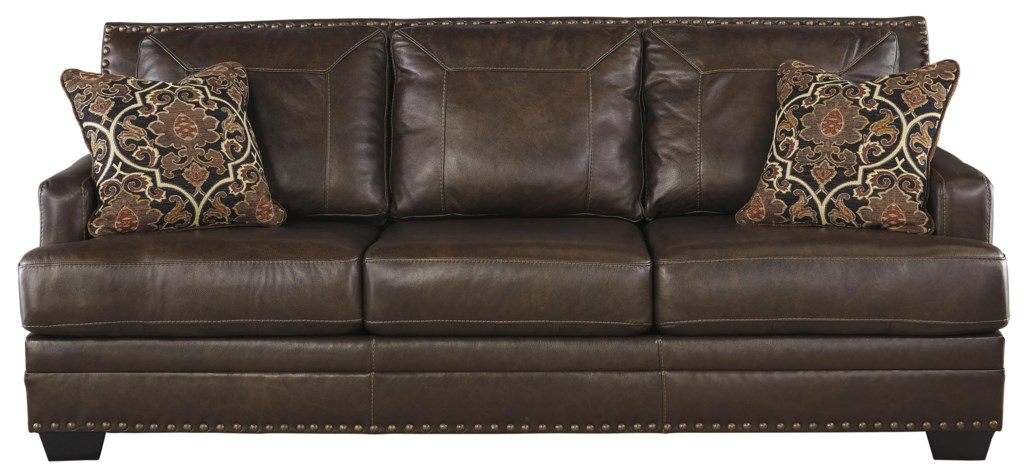 Signature Design By Ashley Corvan 6910339 Leather Match Queen Sofa  ~ Queen Sofa Sleeper Leather