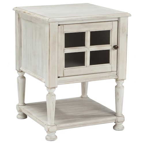 Signature Design by Ashley Mirimyn Chair Side End Table with Window Pane Style Framed Glass Door