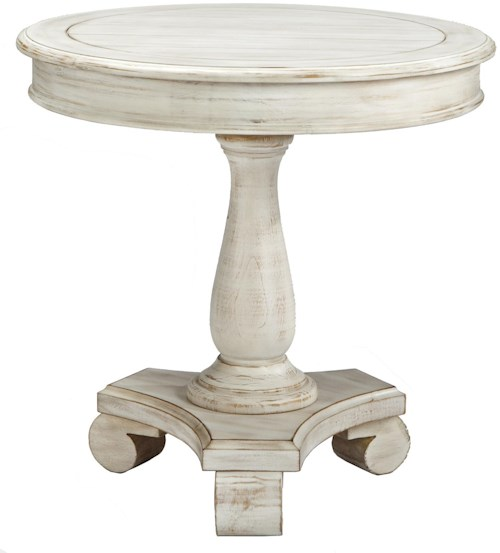 Signature Design by Ashley Mirimyn Round Accent Table with Turned Pedestal Base