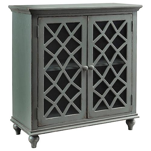 Signature Design by Ashley Mirimyn Lattice Glass Door Accent Cabinet in Antique Gray Finish