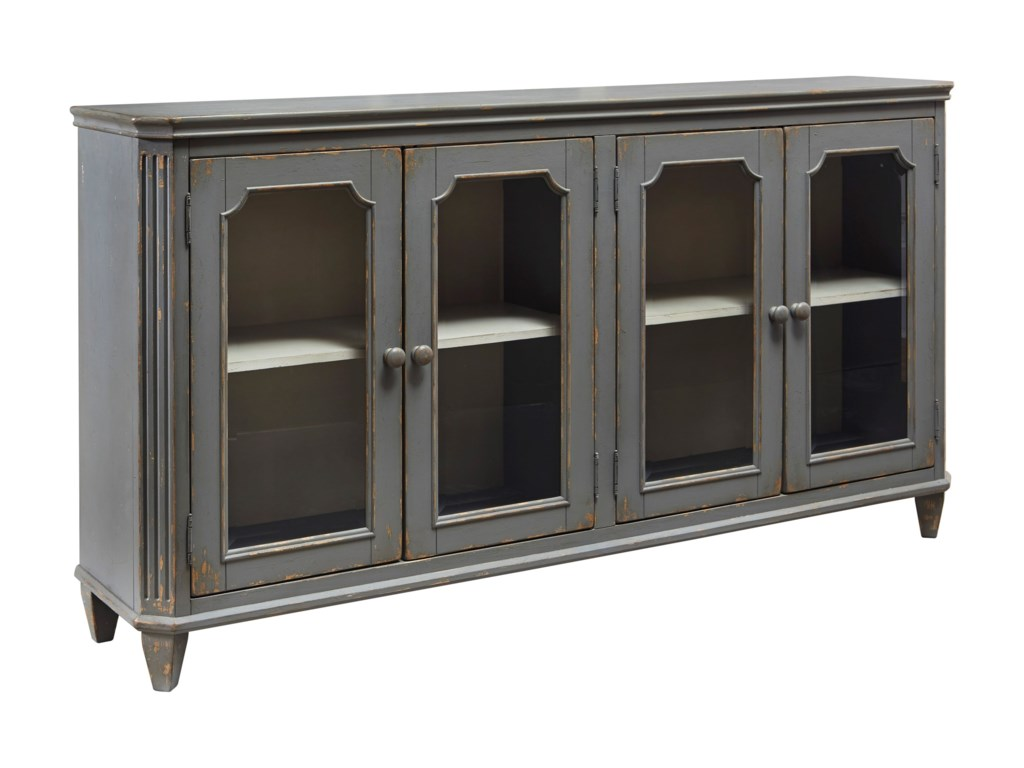 Accent cabinet with glass doors - Signature Design By Ashley Mirimyn French Provincial Style Glass Door Accent Cabinet In Antique Gray Finish Del Sol Furniture Sofa Tables Consoles