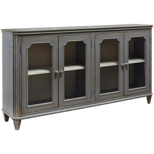 Signature Design by Ashley Mirimyn French Provincial Style Glass Door Accent Cabinet in Antique Gray Finish