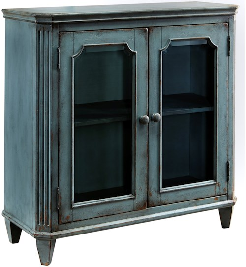 Signature Design by Ashley Mirimyn French Provincial Style Glass Door Accent Cabinet in Antique Teal Finish