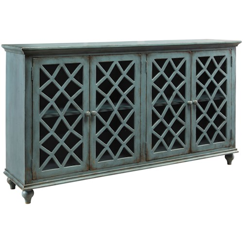 Styleline Shea Collection T505 762 Lattice Glass Door Accent Cabinet