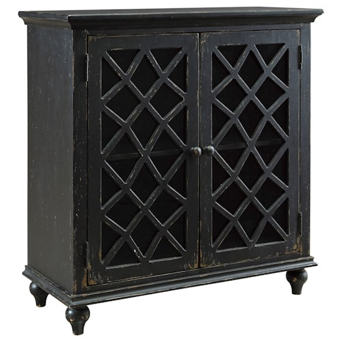 Signature Design by Ashley Mirimyn Lattice Glass Door Accent Cabinet in Antique Black Finish