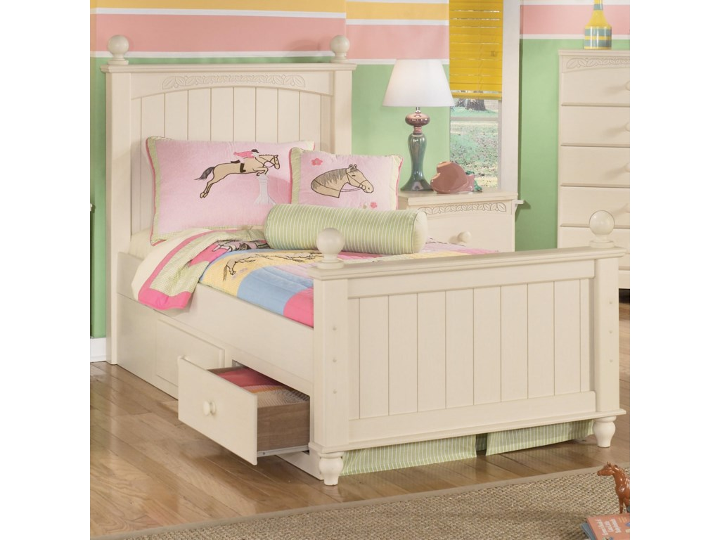 Signature Design by Ashley Cottage RetreatTwin Poster Bed with Underbed Storage